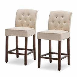 Tufted Fabric Upholstered Barstool Counter Height Dining Cha