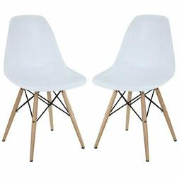 Modway Two Plastic Side Chairs in White with Wooden Base