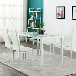 Upholstered 5 Piece Set Glass Table 4 Dining Side Chair Home