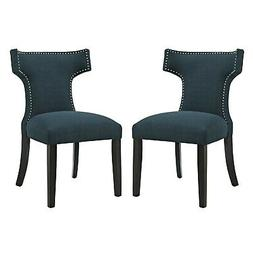 Upholstered Fabric Nailhead Dining Chair With Wood Legs in B