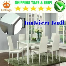USA 7 Piece Dining Room Table Set for 6 with Chairs White Mo