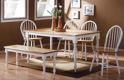White Dining Set 6 pc Dinette Sets Bench Chair Table Kitchen