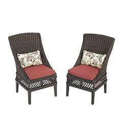 Hampton Bay Woodbury Patio Dining Chair with Dragon Fruit Cu