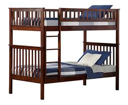 Woodland Bunk Bed, Antique Walnut, Twin Over Twin