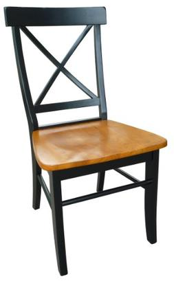 International Concepts X-Back Chair with Solid Wood Seat, Mu