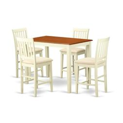 East West Furniture YAVN5-WHI-C 5 Piece Table and 4 Counter